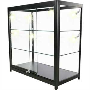 Glasvitrine - DUO inkl. LED-spot lys - Sort