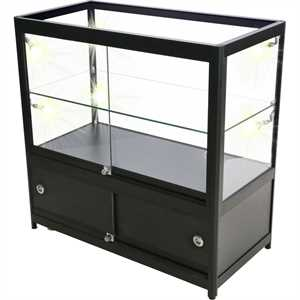 Glasvitrine - DUO m. underskab og LED-lys - Sort
