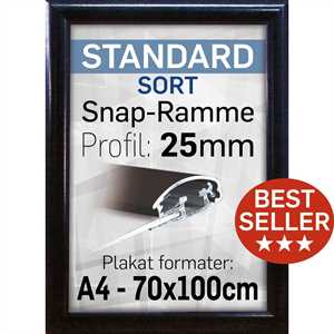 Plakatramme 25 mm profil Sort