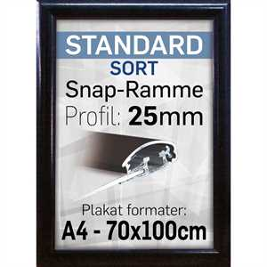 Snapramme m/ sort 25mm profil - A3