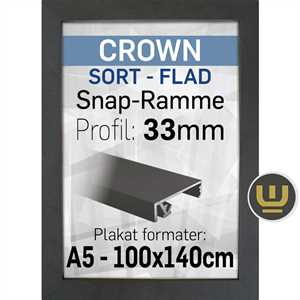 CROWN klapramme sort 33 mm profil