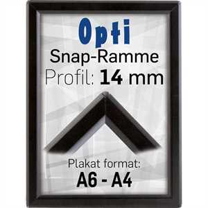 Sort Opti snapramme med 14mm profil
