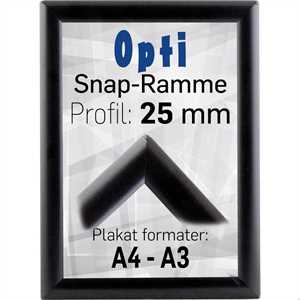 Sort Opti snapramme med 25mm profil