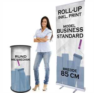Demodisk og roll-up med print