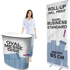 Messebord og roll-up med print